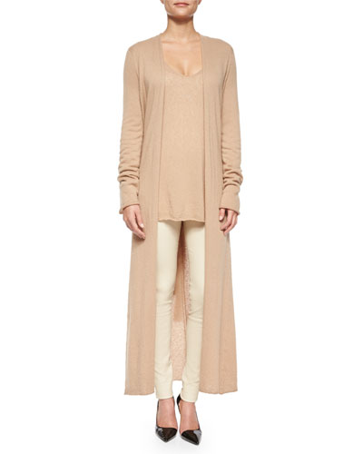 Mila Cashmere-Silk Cardigan Coat, Dory V-Neck Tissue Sweater & Moto Leather Leggings