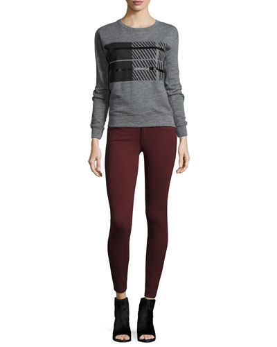 Jewel-Neck Long-Sleeve Plaid Sweatshirt & Low-Rise Ponte Leggings