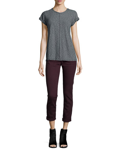 Meadow Short-Sleeve Tee & Dre Low-Rise Cropped Denim Jeans