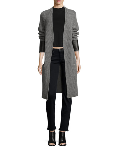 Bonnie Open-Front Long Cardigan & Low-Rise Straight-Leg Jeans