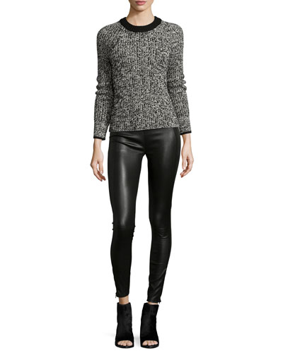Karen Crewneck Sweater & Mid-Rise Leather Leggings