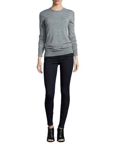 Leanna Long-Sleeve Boyfriend Sweater & High-Waist Skinny-Leg Jeans