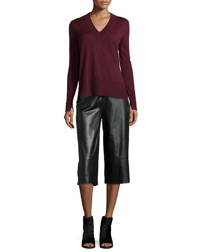 Leanna V-Neck Long-Sleeve Sweater & High-Waist Wide-Leg Leather Gaucho Pants