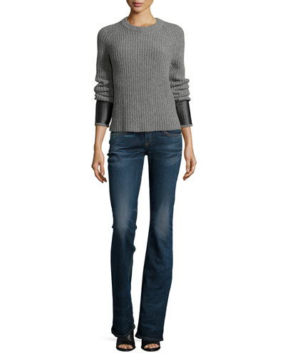 Bonnie Crewneck Long-Sleeve Sweater & Mid-Rise Boot-Cut Jeans
