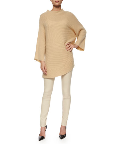 Renata Asymmetric-Knit Cashmere Sweater & Moto Leather Leggings