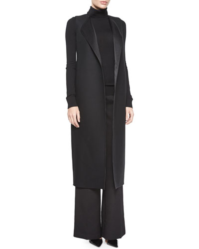 Effie Sleeveless Vest Coat, Sabina Tissue Turtleneck & Melip High-Waist Wide-Leg Pants