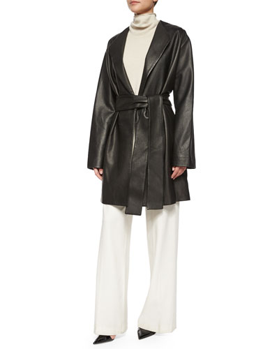 Renstay Leather Tie-Waist Jacket, Leona Sleeveless Turtleneck Top & Rista Side-Zip Wide-Leg Pants