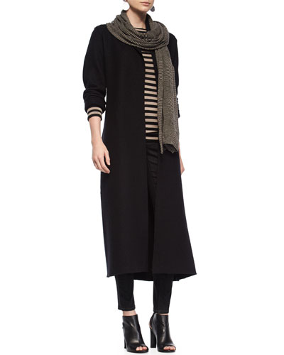 Long Shawl Wool Coat, Striped Merino Wool Long-Sleeve Top, Striped Scarf & Organic Soft Stretch Skinny Jeans