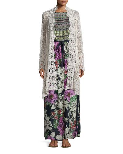 Flowy Drama Crochet Jacket & Sleeveless Mode Mix Maxi Dress, Women's