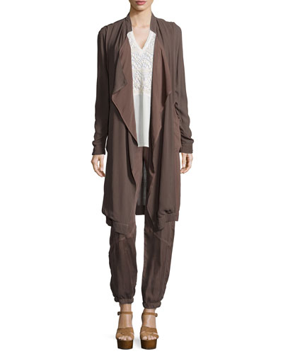 Veranda Combo Draped Jacket, Nia Crochet-Inset Top & Cupro-Blend Parachute Pants