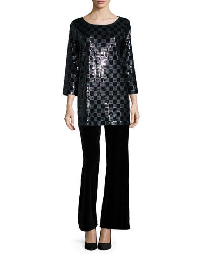 3/4-Sleeve Square Sequined Tunic & Velvet Wide-Leg Pants, Petite