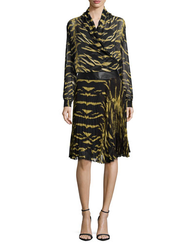 Long-Sleeve Tiger-Print Silk Wrap Blouse & Skirt