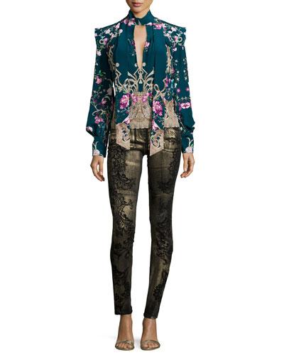 Neiman Marcus Roberto Cavalli Dresses Long Sleeve Floral Print