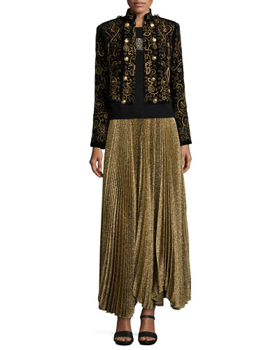Phoenix Embroidered Knit Jacket, Beaded-Tiger Knit Sweater & Katz Shimmery Pleated Maxi Skirt