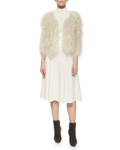 Fawn Lamb Fur Jacket, Giorgia Textured Mock-Neck Top & Kimi Hammered Crepe A-Line Skirt