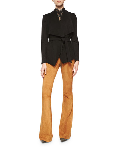 Riko Suede/Knit Tie-Waist Jacket, Madyson Lace-Neck Sleeveless Top & Suede Flared Pants