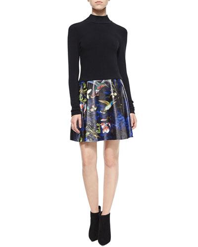 Garrison Cropped Mock-Neck Top & Loran Printed A-Line Skirt