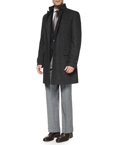 Stand-Collar Wool Overcoat, Plaid with Windowpane Two-Button Jacket, Jason Slim-Fit Textured Mini-Herringbone Dress Shirt, Floral-Print Neat Silk Tie & Floral-Print Neat Silk Tie