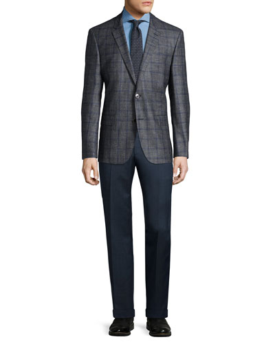 Double-Windowpane Two-Button Sport Coat, Jason Slim-Fit Denim Shirt & Neat Square Silk Tie