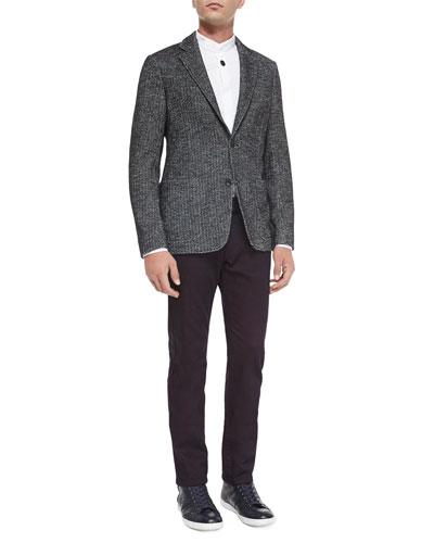 Herringbone Two-Button Jersey Blazer & Five-Pocket Stretch-Cotton Jeans