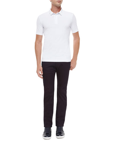 Short-Sleeve Polo Shirt with Double Collar & Five-Pocket Stretch-Cotton Jeans