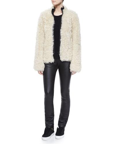 Shearling Fur Front-Zip Jacket, Cashmere Crewneck Sweater & Slim Leather Pants