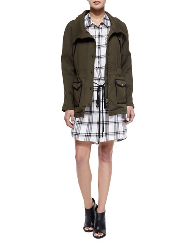 Army Stretch Cotton Zip Jacket & Marcy Plaid Tie-Waist Shirtdress