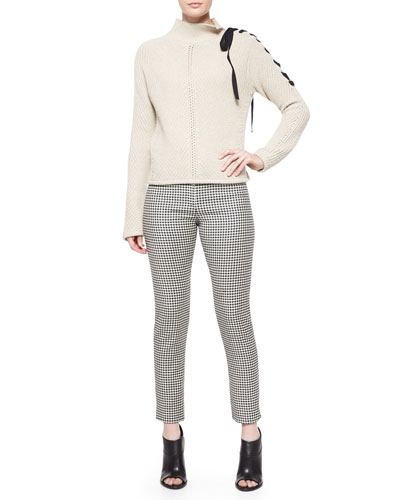 Auger Tie-Neck Sweater & Classic Houndstooth Cigarette Trousers