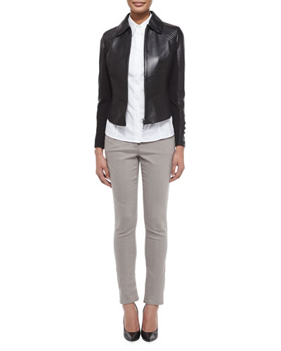 Dondi Inset Ring Detail Jacket, Gunmetal-Trimmed Poplin Blouse & Bugle-Bead-Trim Five-Pocket Jeans