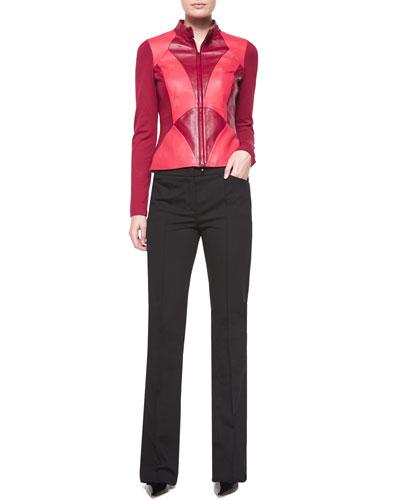 Art Nouveau Leather Combo Jacket & Dondi Boot-Cut Pants