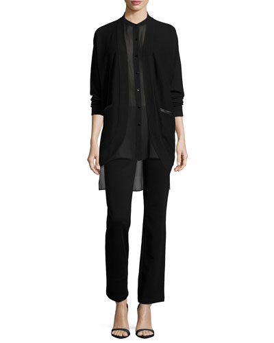 Curved Cashmere Cardigan W/ Leather Trim, Silk Georgette Tunic W/ Step Hem & Boot-Cut Ponte Pants