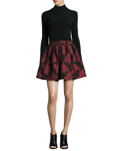 Garrison Cropped Mock-Neck Top & Stora Floral-Jacquard Pleated Skirt