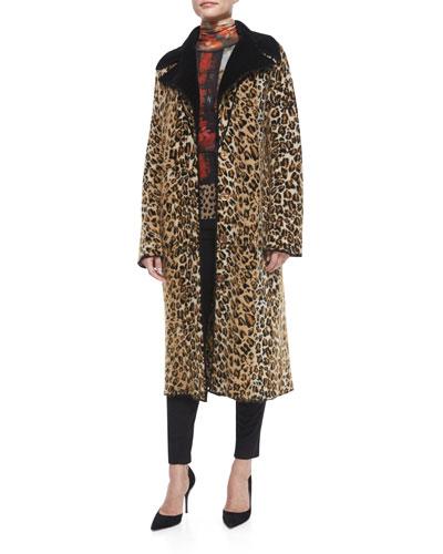 Leopard-Print Long Sweater Topper & Long-Sleeve Floral Turtleneck