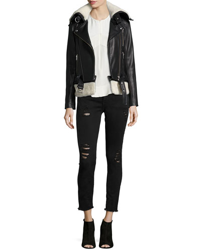 Kolia Leather/Shearling Fur Jacket, Diamant Sleeveless Zip Top & Jarod Distressed Denim Jeans