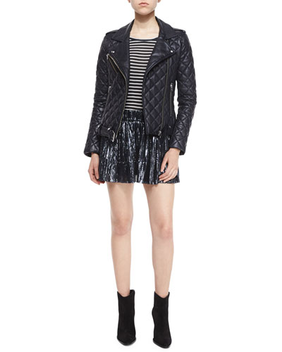 Keroa Quilted Leather Moto Jacket, Ludvig Striped Short-Sleeve Tee & Arny Pleated Metallic Mini Skirt