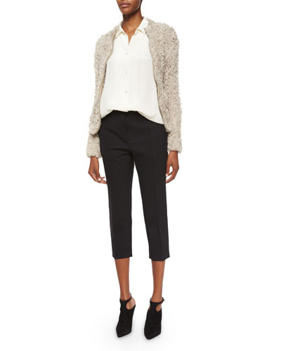 Kald Lamb Shearling Fur Zip Jacket, Bonnie Button-Down Blouse & Amaele Cropped Wool Pants