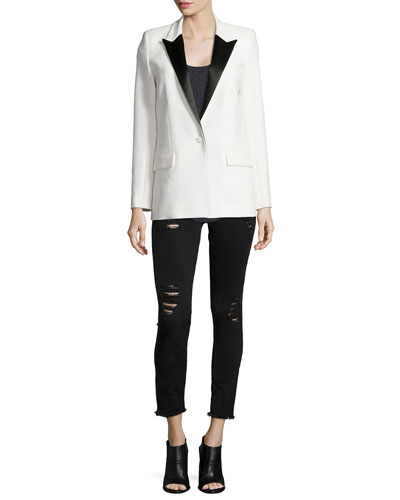 Badler Two-Tone Tuxedo Jacket, Sais Ribbed Knit Tank & Jarod Distressed Denim Jeans