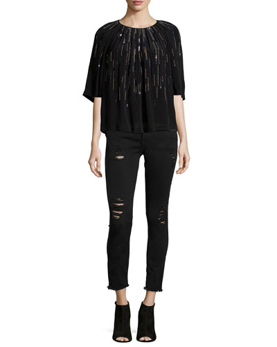 Barley Sequin-Embellished Top & Jarod Distressed Denim Jeans