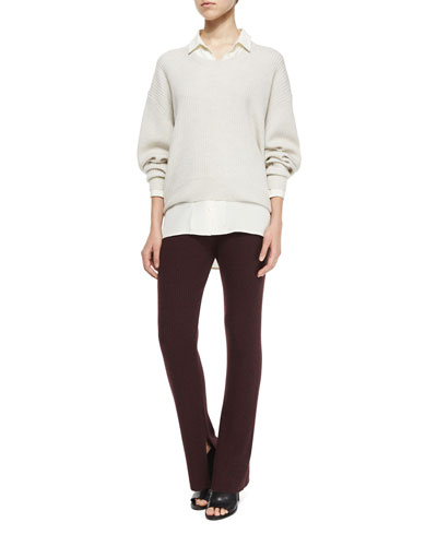 Sevigny Arched-Hem Sweater, Bonnie Button-Down Blouse, & Shipp Knit Flare Pants