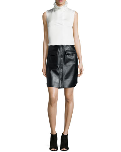 Oris Twill Funnel-Neck Top & Leather Button-Front Miniskirt