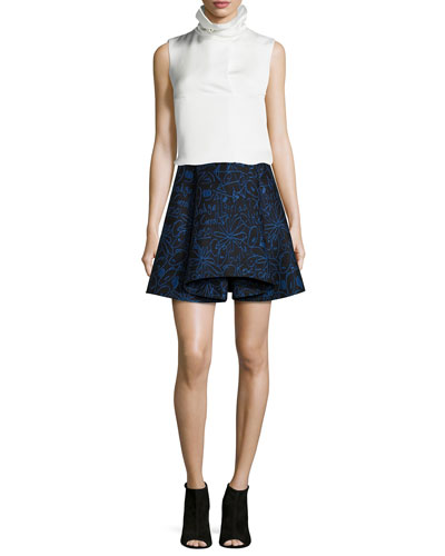 Oris Twill Funnel-Neck Top & Scribbles Jacquard Skirt