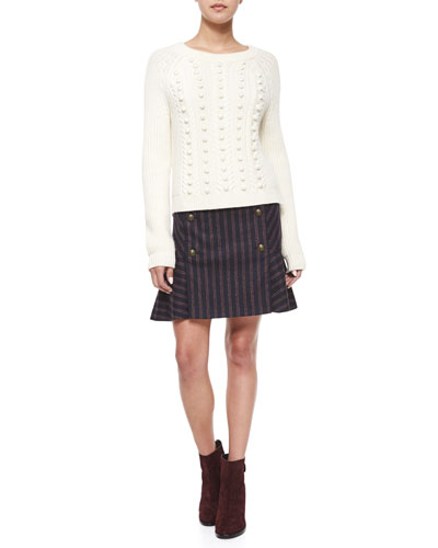 Hamilton Popcorn-Knit Sweater & Forge Striped Button Flare Skirt