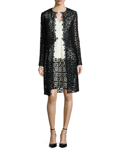 Long-Sleeve Scroll Guipure Lace Jacket & V-Neck Dress