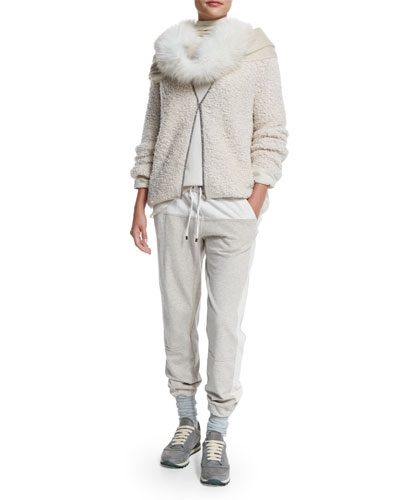 Monili-Chain Trimmed Cardigan, Ribbed Layered Turtleneck Tunic, Colorblock Jersey Drawstring Spa Sweatpants & Accessories