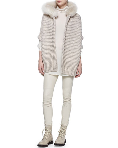 Fox Fur Trimmed Hooded Cashmere Poncho, Ribbed Layered Turtleneck Tunic & Side-Zip Stretch Leather Leggings