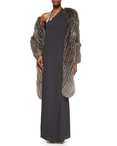 Fox Fur Cashmere-Knit Long Coat & Sleeveless Monili-Shoulder Gown