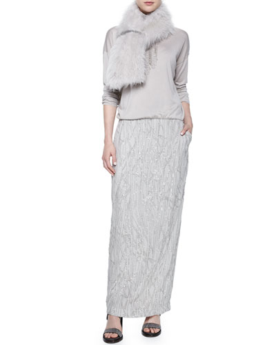 Cashmere Goat Fur Stole, Scalloped Breastplate Necklace & Long-Sleeve Embroidered Combo Gown