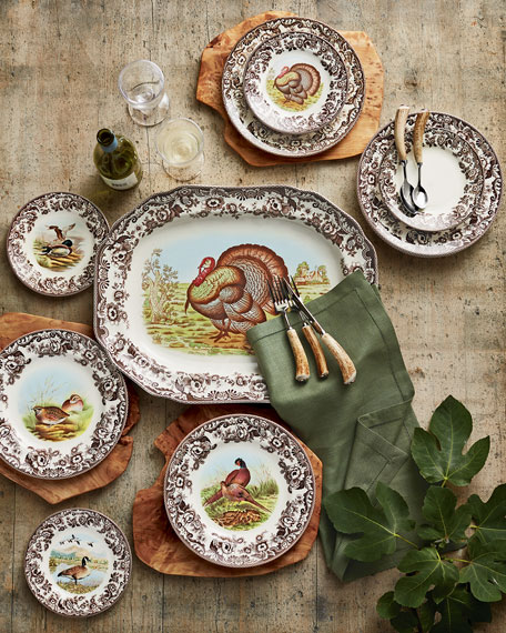 SpodeAssorted Woodland Bird Dinner Plates, 4-Piece Set