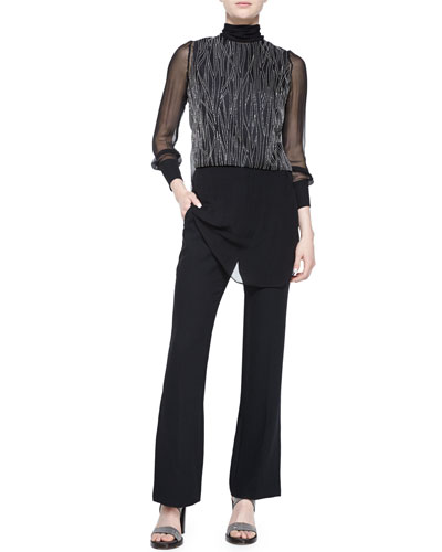 Monili-Chain Embroidered Top & Flare-Leg Pants w/Ankle Slit