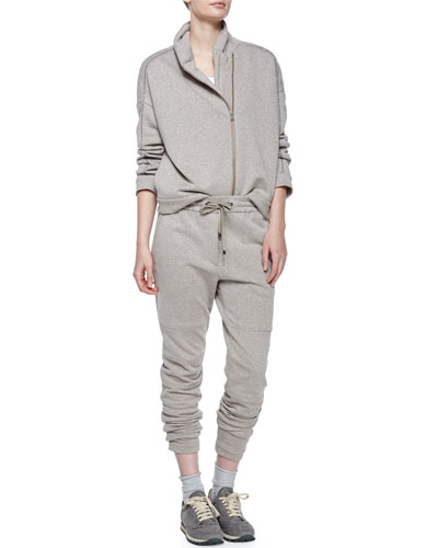 Long-Sleeve Spa Jacket, Drawstring-Waist Sweatpants & Cashmere-Blend Mid-Calf Socks